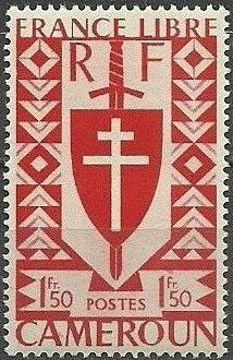 Cameroon 1941 Lorraine Cross and Joan of Arc Shield g.jpg