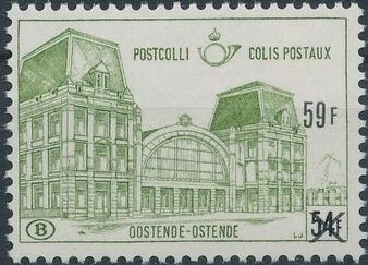 "Belgium 1971 Ostend Station Surcharged with New Value and ""X"" f.jpg"