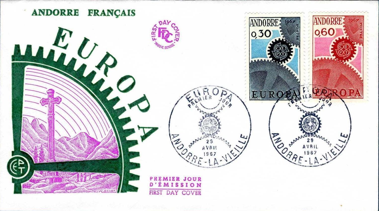 Andorra-French 1967 Europa FDCa.jpg
