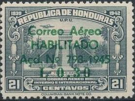 Honduras 1945 Air Post Stamps of 1937-1939 Surcharged f.jpg