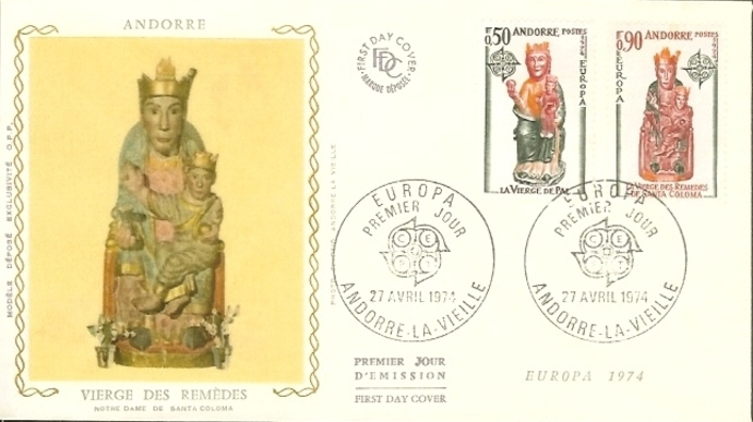 Andorra-French 1974 - Europa - Sculptures FDCe.jpg