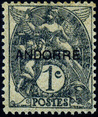 "Andorra-French 1931 Type ""Blanc"" of France Overprinted ""ANDORRE"""