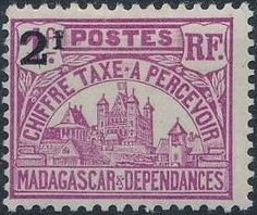 Madagascar 1927 Govenor's Palace Surcharged