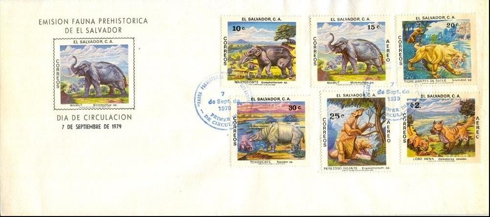 El Salvador 1979 Prehistoric Animals FDCa.jpg