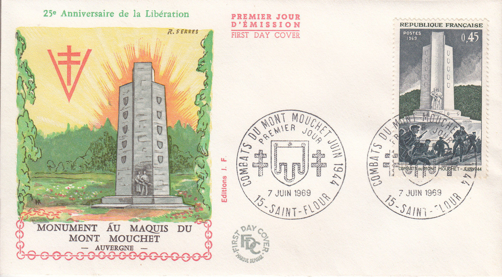 France 1969 25th Anniversary of the Battle of Mt. Mouchet FDCb.jpg