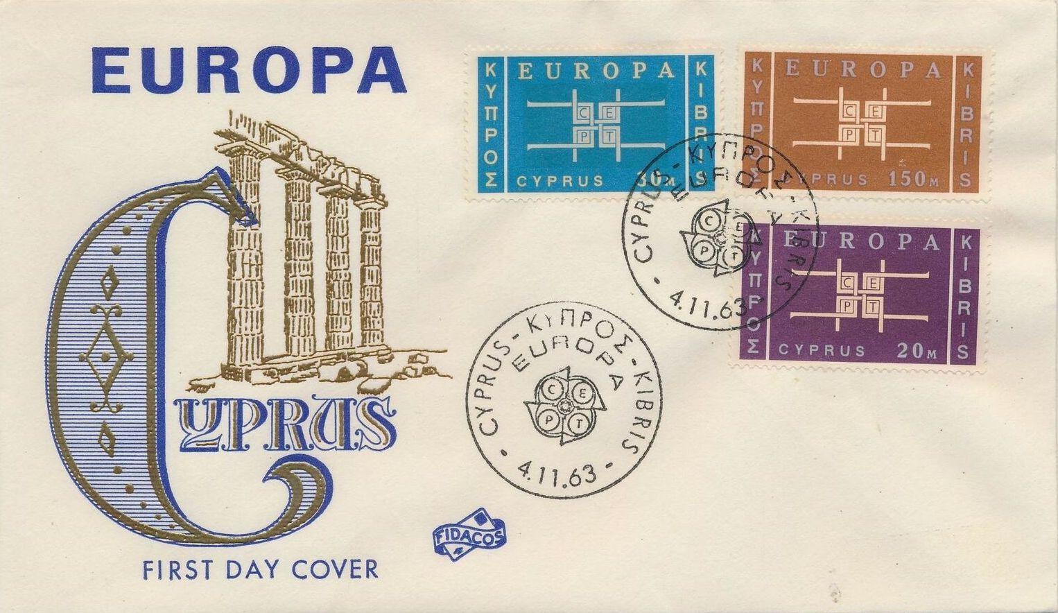 Cyprus 1963 Europa FDCa.jpg