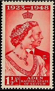 Aden-Kathiri State of Seiyun 1949 Silver Wedding of King George VI & Queen Elizabeth a.jpg