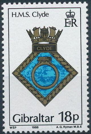 Gibraltar 1988 Royal Navy Crests 7th Group