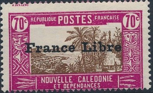 """New Caledonia 1941 Definitives of 1928 Overprinted in black """"France Libre"""" r.jpg"""