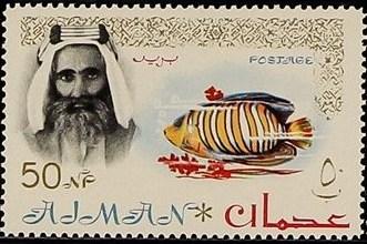 Ajman 1964 Sheik Rashid bin Humaid al Naimi and Fauna k.jpg
