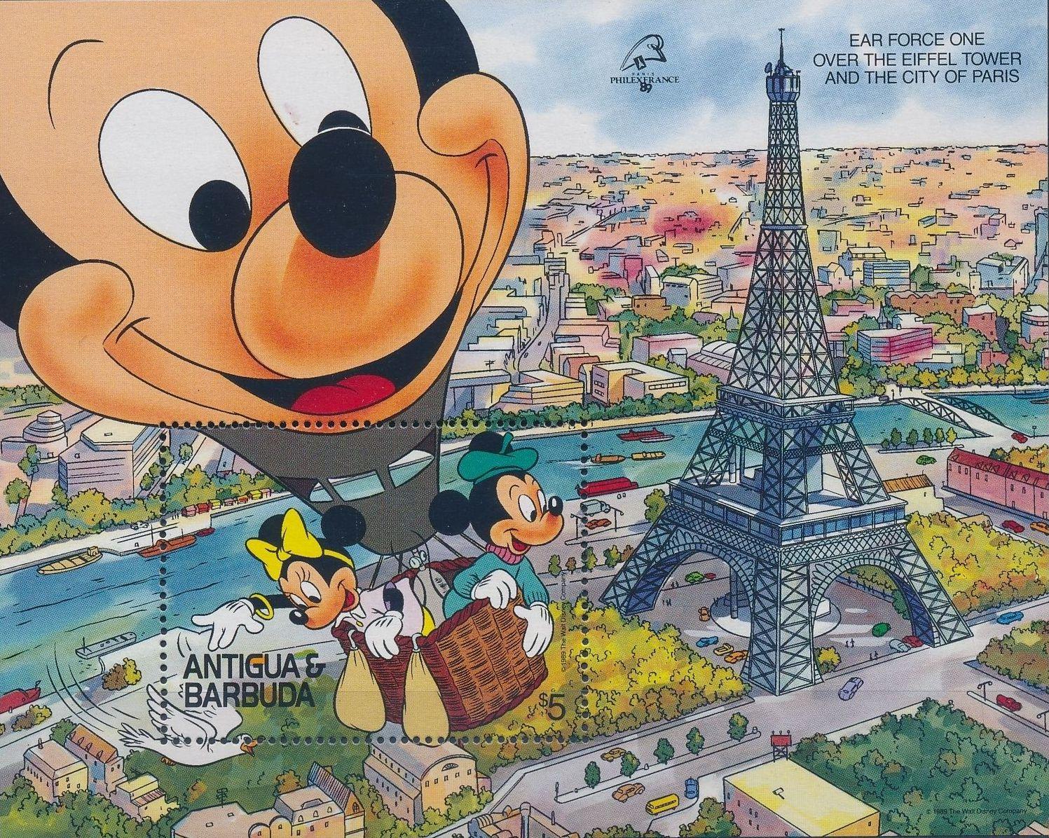 "Antigua and Barbuda 1989 Disney - ""Philexfrance 89"" International Stamp Exhibition"