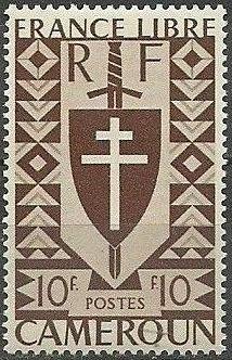 Cameroon 1941 Lorraine Cross and Joan of Arc Shield m.jpg