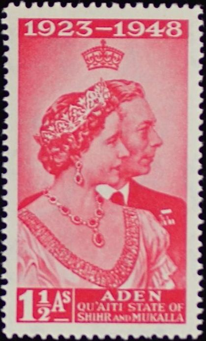 Aden-Quaiti State of Shihr and Mukalla 1949 Silver Wedding of King George VI & Queen Elizabeth a.jpg