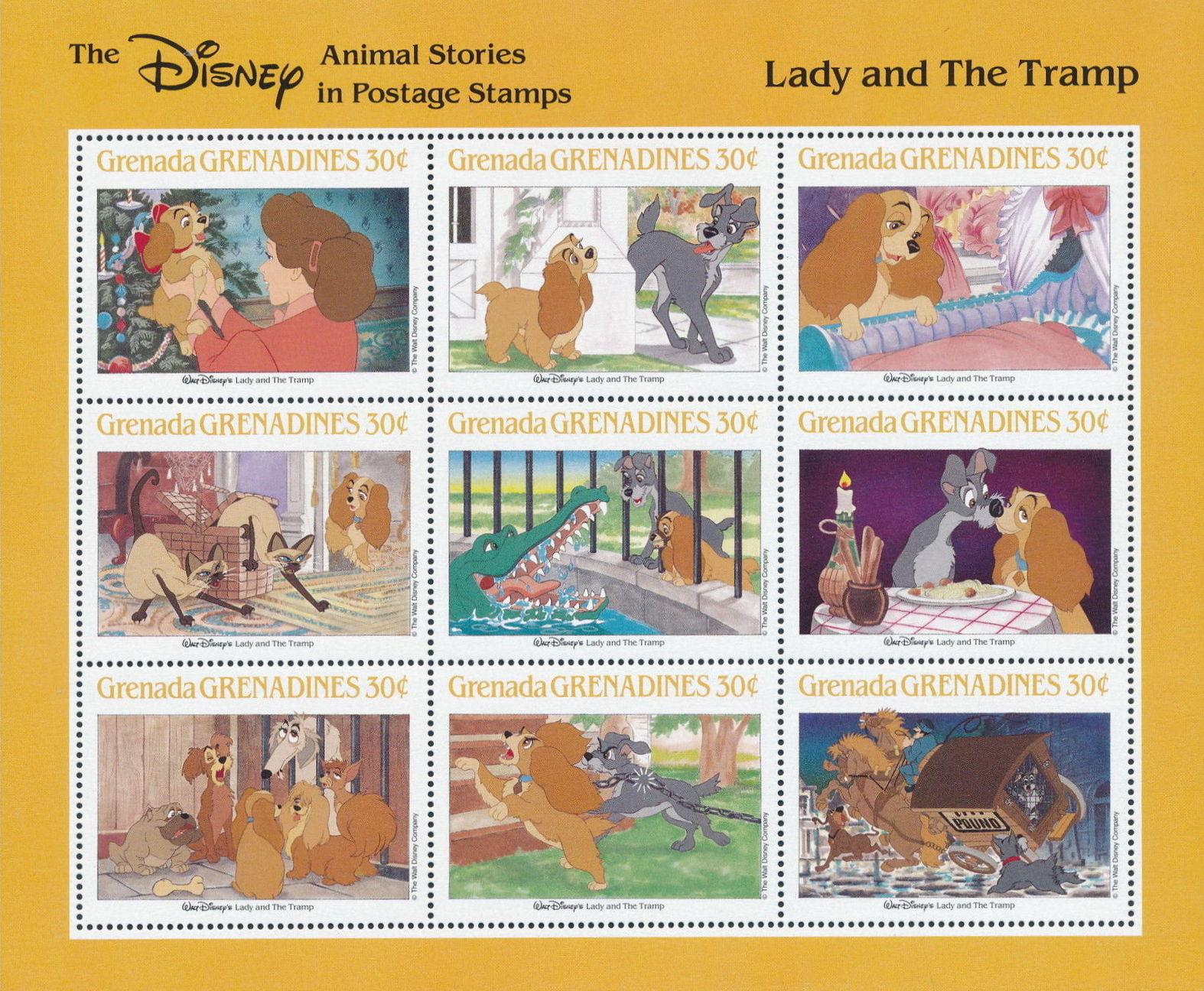 Grenada Grenadines 1988 The Disney Animal Stories in Postage Stamps SSe.jpg