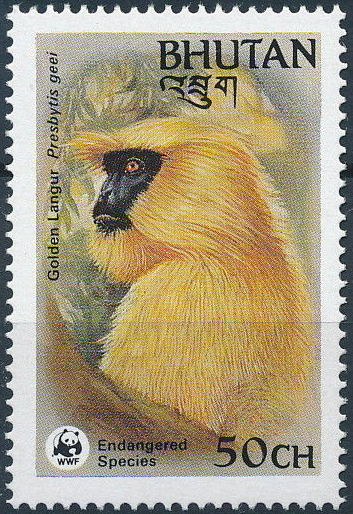 Bhutan 1984 WWF - Golden Langur