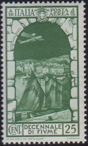 Italy 1934 10th Anniversary of Annexation of Fiume - Air Post Stamps a.jpg