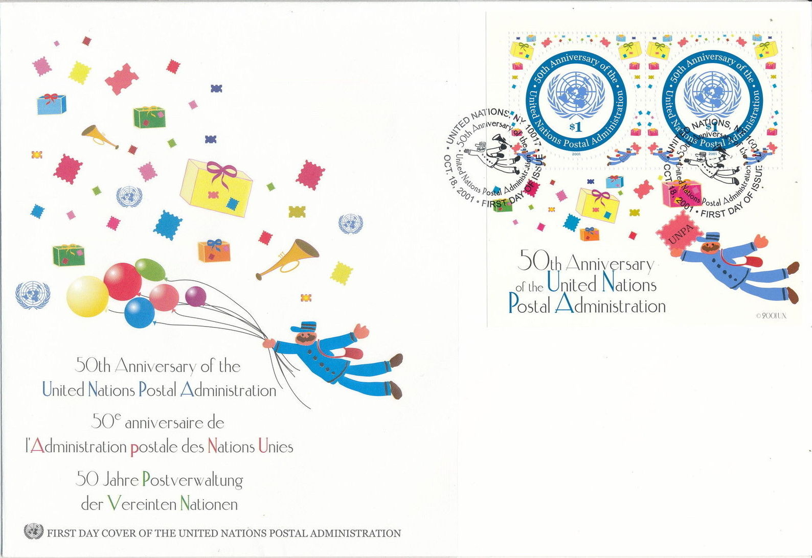 United Nations-New York 2001 50th Anniversary of United Nations Postal Administration