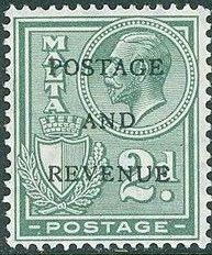 Malta 1928 George V and Coat of Arms Ovpt POSTAGE AND REVENUE g.jpg