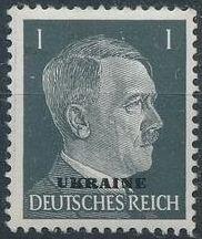 German Occupation-Ukraine 1941 Stamps of German Reich Overprinted in Black