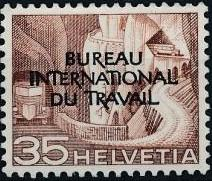 Switzerland 1950 Landscapes and Technology Official Stamps for The International Labor Bureau g.jpg