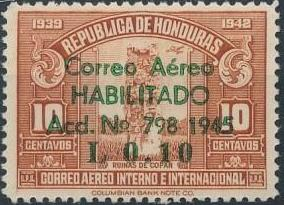 Honduras 1945 Air Post Stamps of 1937-1939 Surcharged d.jpg