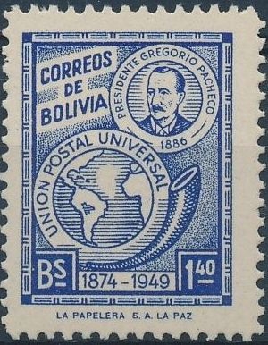 Bolivia 1950 75th Anniversary of the UPU