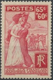 France 1938 For the French Volunteers Repatriated from Spain