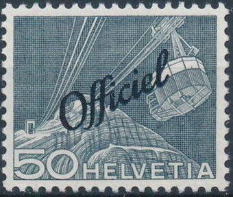 Switzerland 1950 Engineering - Switzerland Postage Stamps of 1949 Overprinted Officiel i.jpg