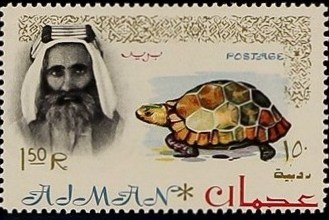Ajman 1964 Sheik Rashid bin Humaid al Naimi and Fauna n.jpg
