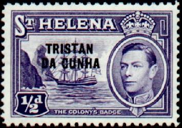 Tristan da Cunha 1952 Stamps of St. Helena Overprinted
