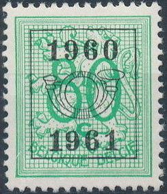 Belgium 1960 Heraldic Lion with Precanceled Number k.jpg