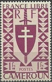 Cameroon 1941 Lorraine Cross and Joan of Arc Shield h.jpg