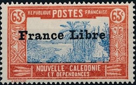 """New Caledonia 1941 Definitives of 1928 Overprinted in black """"France Libre"""" q.jpg"""