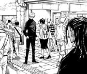 Satoru confronts Suguru in Shinjuku