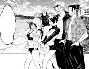 Escort group visits the beach in Okinawa