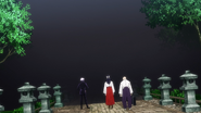 Satoru, Utahime and Yoshinobu approach the Curtain (Anime)