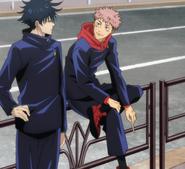 Yuji and Megumi's school uniforms (Anime)