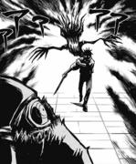 Yuta and Rika intimidate a Cursed Spirit