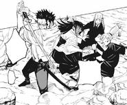 Kusakabe protects the girls from Maximum Uzumaki