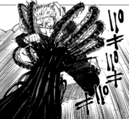 Yuji hit by Pseudo-Geto's centipede curse