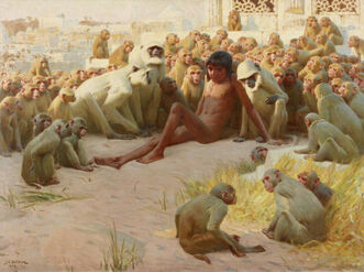 John Charles Dollman - Mowgli made leader of the Bandar Log
