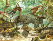 JP Artwork of Velociraptors attacking Triceratops