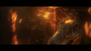 Baryonyx getting hit by lava