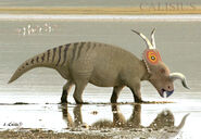 Einiosaurus in a river by calisius