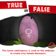 Lysine Contingency create only female dinosaurs