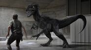 Indoraptor concept art 19; Indoraptor vs Owen