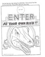Jurassic Park A Big Color and Activity Book Door Hanger