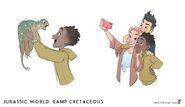 JW- Camp Cretaceous Darius, Brooklynn, Kenji, and Bumpy concept art