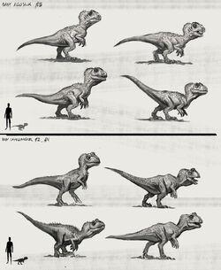 JW Camp Cretaceous Bumpy Baby Allosaurus and Cryolophosaurus Extra Sketches.jpg