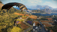 JC3 parachuting on countryside